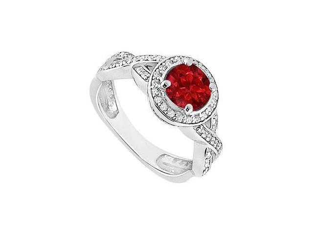 Ruby and Diamond Halo Engagement Ring  14K White Gold - 1.40 CT TGW