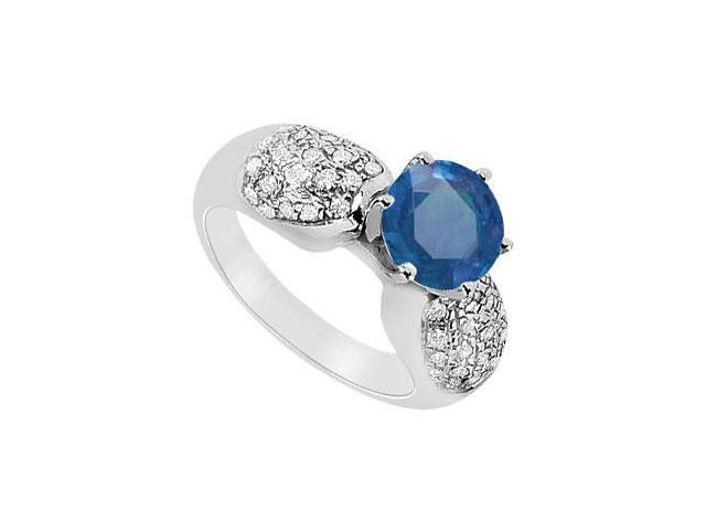 September Birthstone Created Sapphire and CZ Cluster Engagement Rings 14K White Gold 1.50.ct.tgw