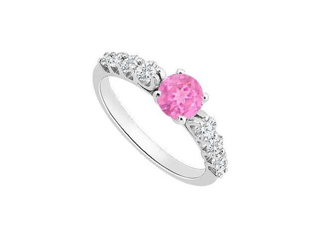 Created Pink Sapphire and Cubic Zirconia Engagement Ring in 14K White Gold 1.25.ct.tgw