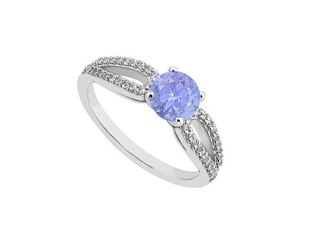 Created Tanzanite and Cubic Zirconia Engagement Ring in 14K White Gold 0.75.ct.tgw