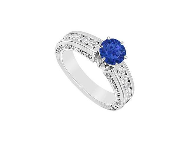 Sapphire and Diamond Engagement Ring  14K White Gold - 1.75 CT TGW
