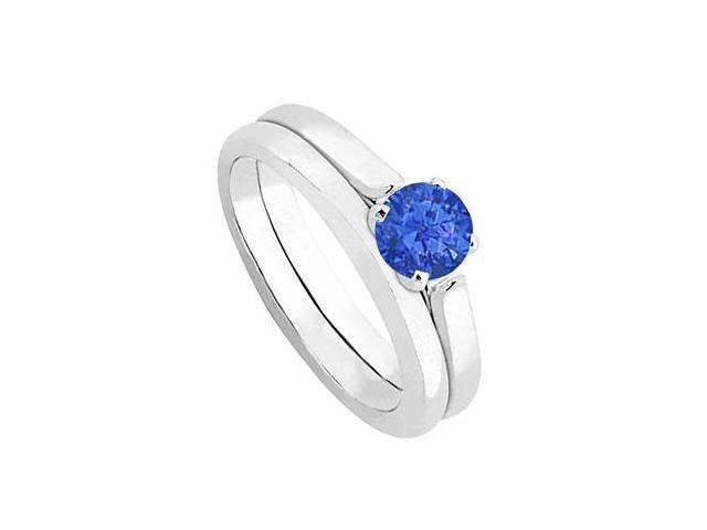 Sapphire Solitaire Wedding and Engagement Ring Set in 14kt White Gold 0.50.ct.tw
