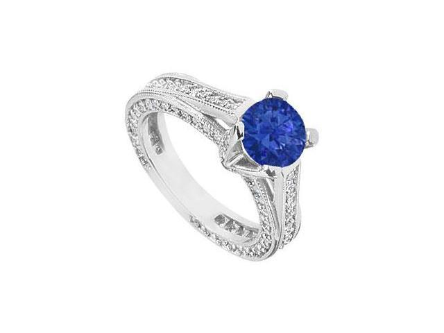 Created Sapphire and Cubic Zirconia Filigree Engagement Rings in 14kt White Gold 2.50.ct.tgw