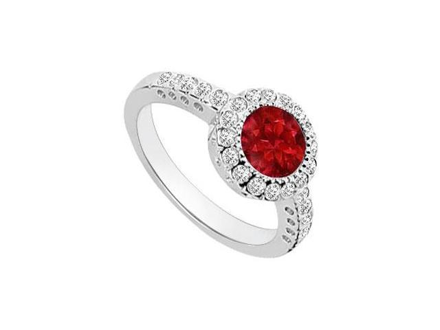 Ruby and Diamond Halo Engagement Ring  14K White Gold - 1.25 CT TGW