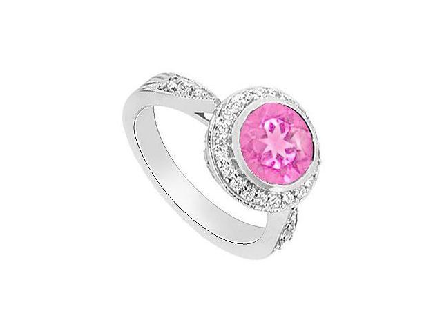 Created Pink Sapphire and Diamond Halo Engagement Ring  14K White Gold - 2.30 CT TGW