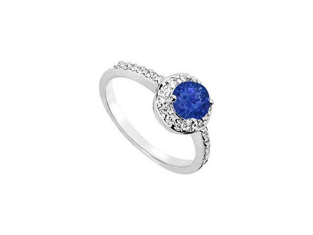 Created Sapphire and CZ Halo Engagement Ring in 14kt White Gold 1.50.ct. tgw.
