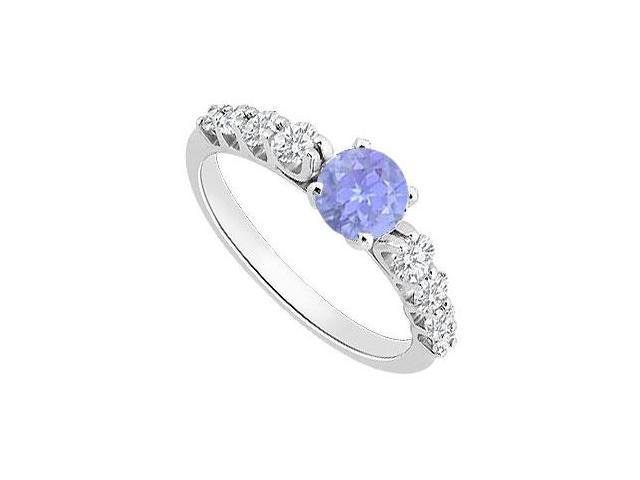 Created Tanzanite and Cubic Zirconia Engagement Ring in 14K White Gold 1.25.ct.tgw