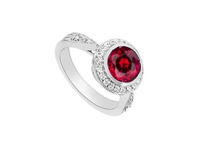 Created Ruby and Diamond Halo Engagement Ring 14K White Gold  2.30 Carat Total Gem Weight