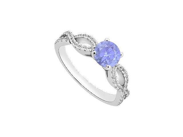 December Birthstone Created Tanzanite  CZ Engagement Rings 14K White Gold 1.00.ct.tgw