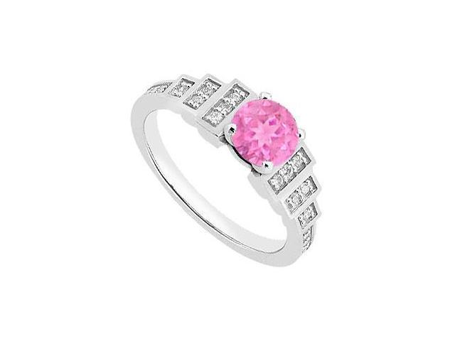 September Birthstone Created Pink Sapphire  CZ Engagement Rings 14kt White Gold 0.90.ct.tgw