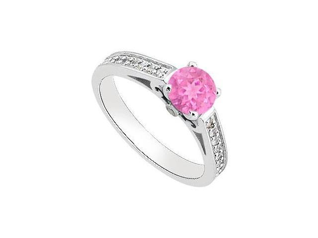Created Pink Sapphire  Cubic Zirconia Engagement Ring in 14K White Gold 1.00.ct.tgw