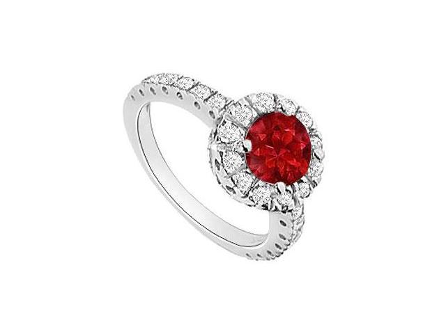 Ruby and Diamond Halo Engagement Ring  14K White Gold - 1.30 CT TGW