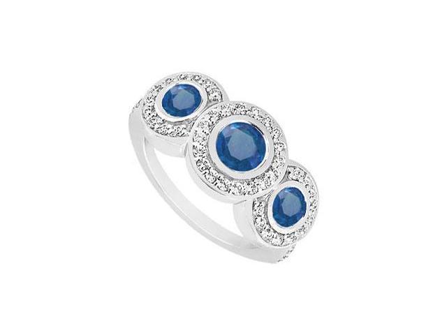 Sapphire and Diamond Engagement Ring  14K White Gold - 0.66 CT TGW