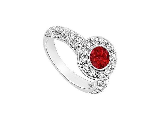 Ruby and Diamond Halo Engagement Ring  14K White Gold - 2.25 CT TGW