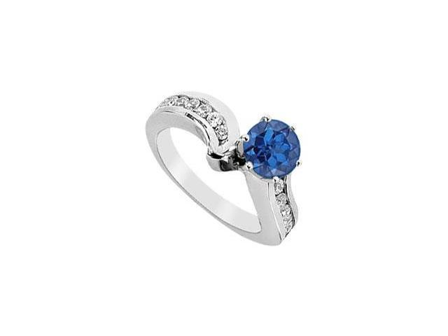 Created Sapphire and Cubic Zirconia Engagement Ring in 14kt White Gold 1.50.ct.tw