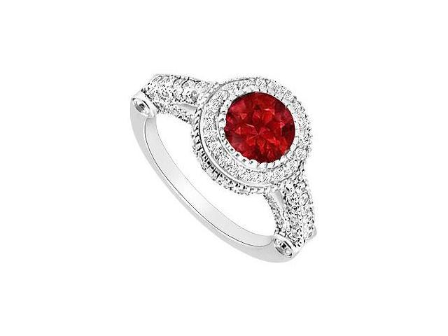 Ruby and Diamond Halo Engagement Ring  14K White Gold - 2.00 CT TGW