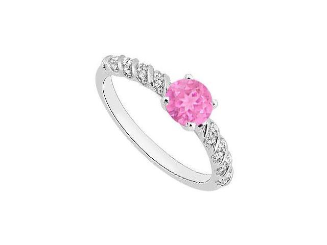 September Birthstone Created Pink Sapphire  CZ Engagement Rings in 14kt White Gold 1.00.ct.tgw