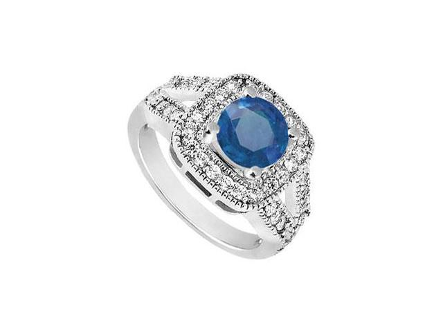 Split Shank Created Sapphire and CZ Engagement Ring in 14K White Gold 1.50.ct.tw