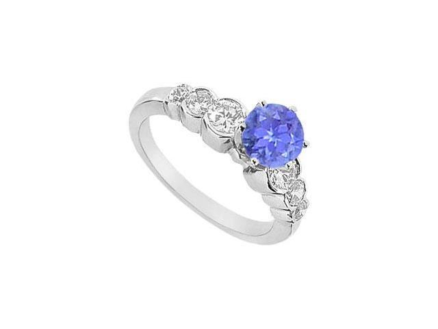 Tanzanite and Diamond Engagement Ring  14K White Gold - 1.75 CT TGW