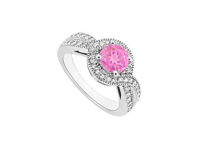 Pink Sapphire and Diamond Halo Engagement Ring  14K White Gold - 1.33 CT TGW