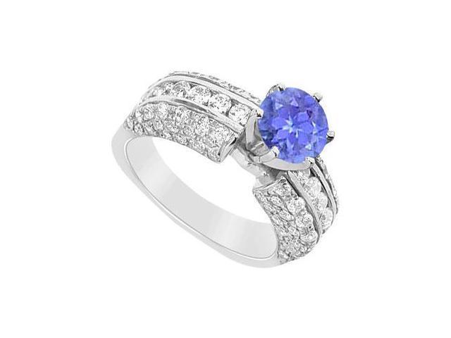 Tanzanite and Diamond Engagement Ring  14K White Gold - 3.25 CT TGW