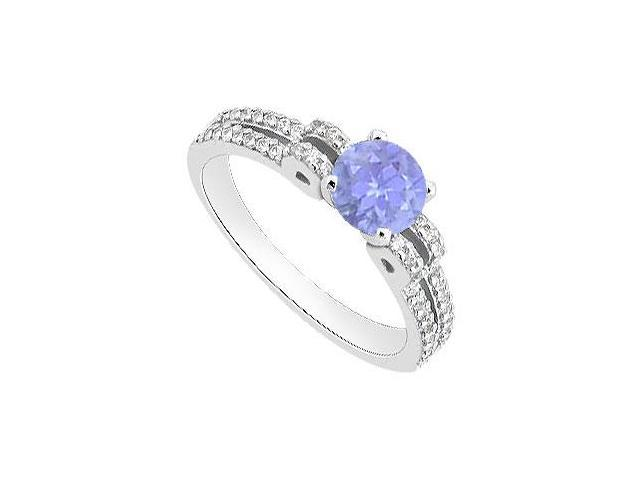 Created Tanzanite and Cubic Zirconia Engagement Rings 14K White Gold 1.00.ct.tgw