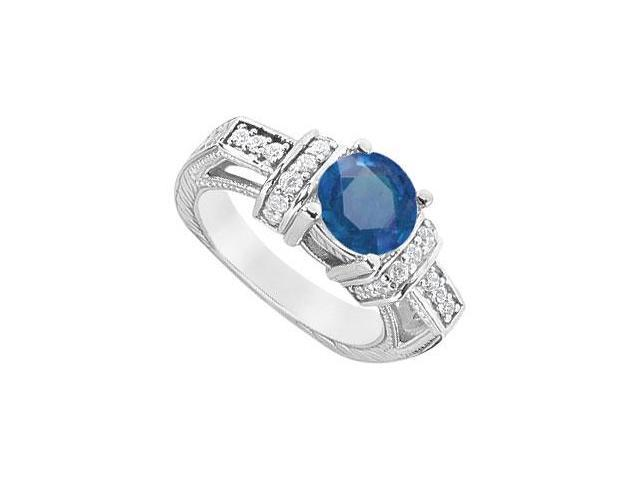 Round Created Sapphire and Cubic Zirconia Engagement Rings in 14kt White Gold 2.50.ct.tgw