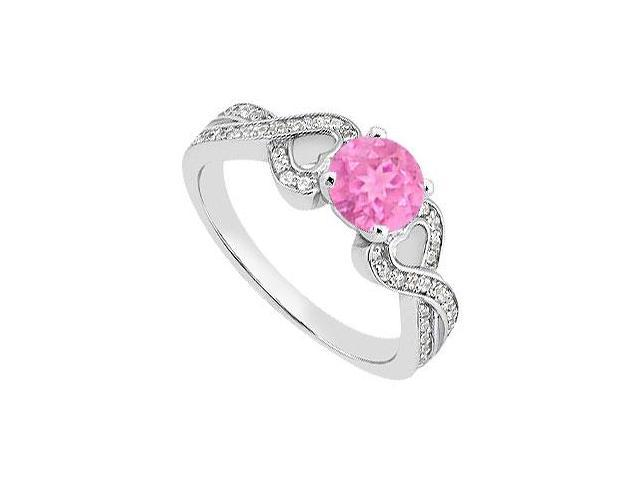 Created Pink Sapphire Engagement Rings with CZ in 14K White Gold 1.00.ct.TGW