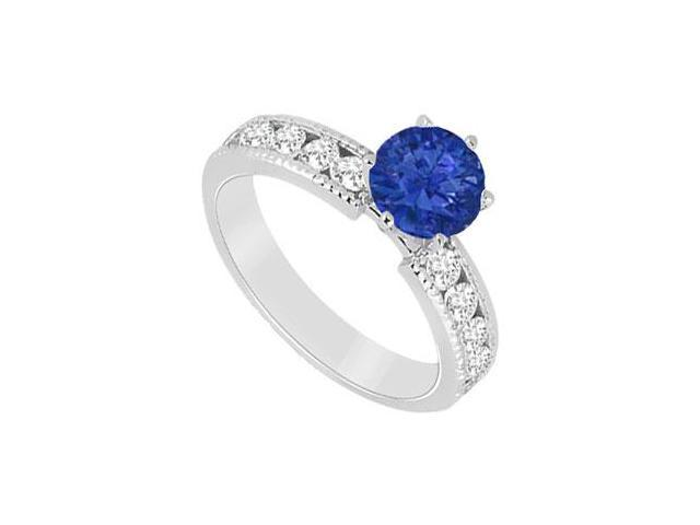 September Birthstone Created Sapphire and CZ Engagement Rings in 14K White Gold 1.75.ct.tgw