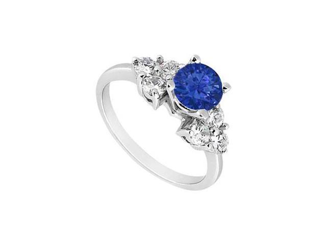 Created Sapphire Engagement Ring  with Three Stone Cluster CZ in 14K White Gold 1.00.ct.tgw