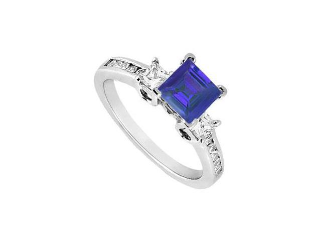 Princess Cut Three Stone Created Sapphire and CZ Engagement Ring in 14kt White Gold 1.00.ct.tw