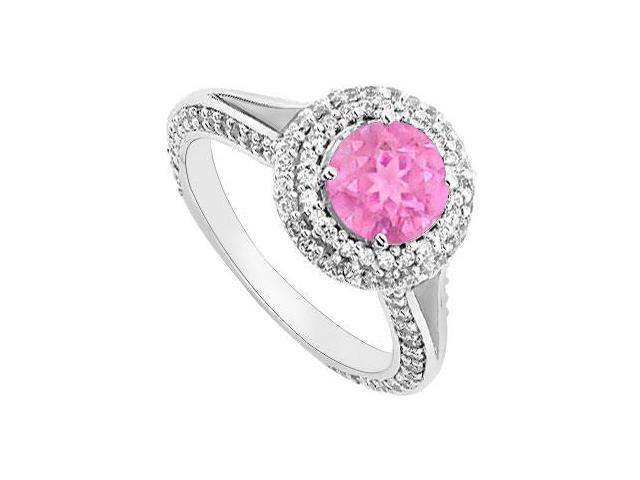 Pink Sapphire and Diamond Engagement Ring  14K White Gold 2.00 CT TGW