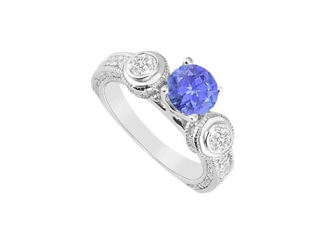 Tanzanite and Diamond Engagement Ring  14K White Gold - 2.00 CT TGW