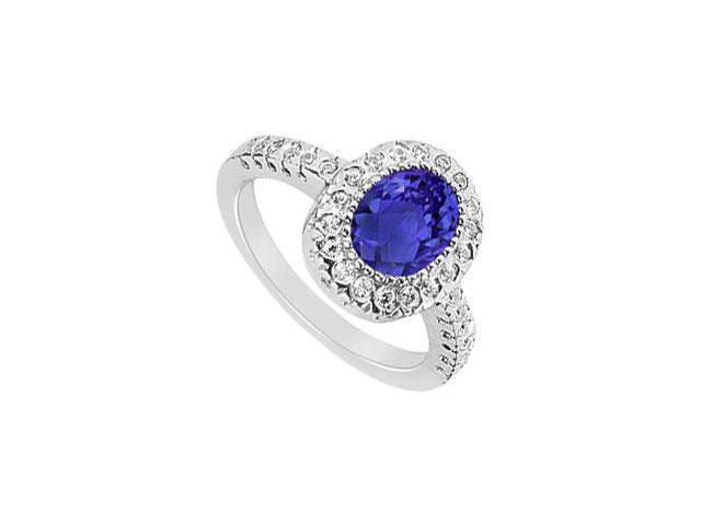 September Birthstone Created Sapphire and CZ Halo Engagement Ring in 14K White Gold 1.50.ct.tgw