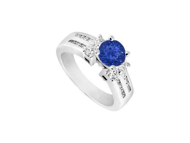 Wide Two Row Shank Created Sapphire and CZ Engagement Ring in 14kt White Gold 2.00.ct.tgw