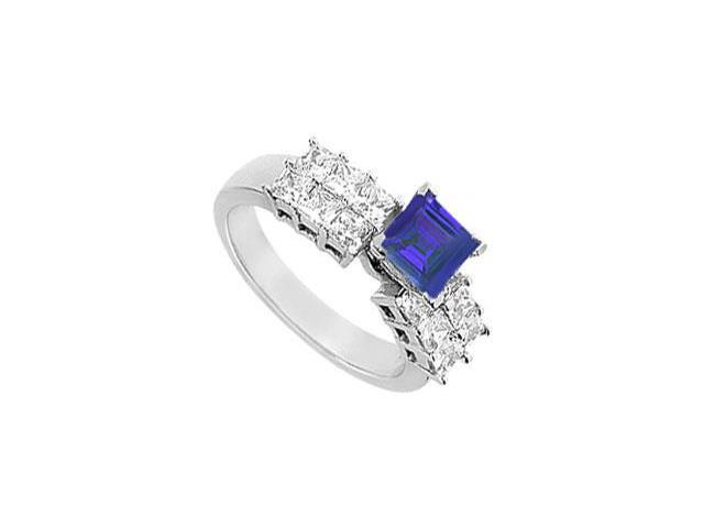 Engagement Ring Princess Cut Two Row with Created Sapphire and CZ in 14kt White Gold 2.00.ct.tgw