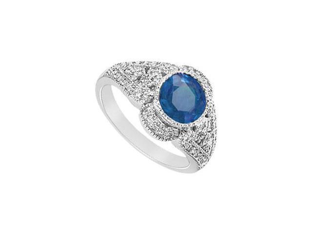 Created Sapphire and Cubic Zirconia Filigree Engagement Rings in 14K White Gold 1.25.ct.tgw