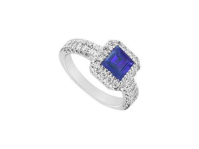 Square Created Sapphire and Cubic Zirconia Halo Engagement Rings 14K White Gold 1.50.ct.tgw