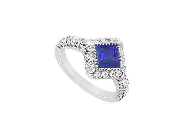Square Created Sapphire and CZ Halo Engagement Rings in 14K White Gold 1.50.ct.tgw