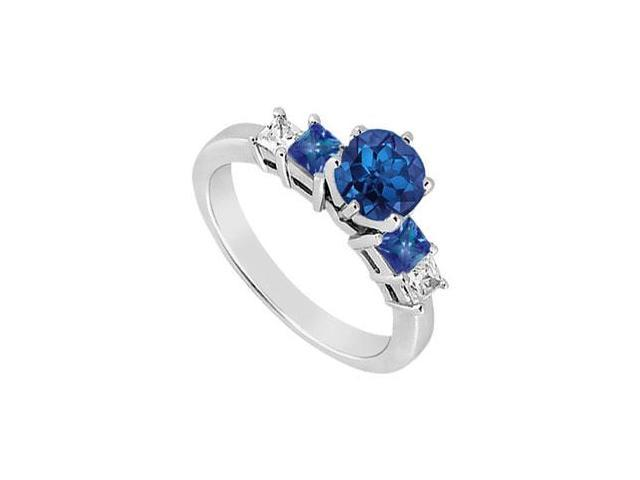 Created Sapphire and Cubic Zirconia Three Stone Engagement Ring 14K White Gold 1.50.ct.tgw