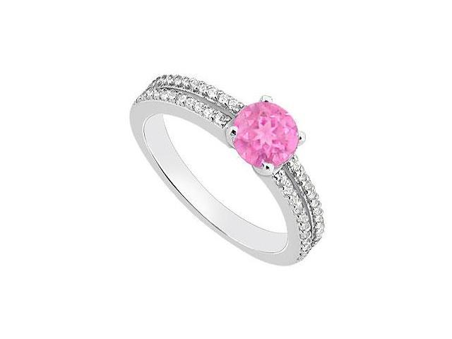 September Birthstone Created Pink Sapphire Engagement Rings with CZ 14K White Gold 1.00.ct TGW