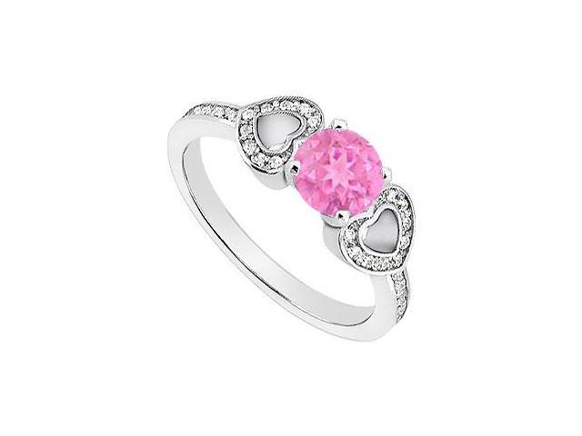 Created Pink Sapphire Heart Shaped Engagement Rings with CZ in 14K White Gold 1.00.ct.TGW