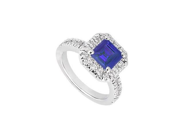 Princess Cut Created Sapphire and CZ Halo Engagement Ring in 14kt White Gold 1.00.ct.tgw.