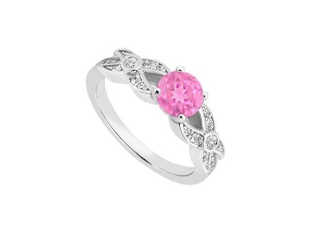 September Birthstone Created Pink Sapphire Engagement Rings with CZ 14K White Gold 1.00.ct.TGW