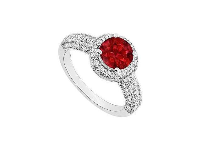 Ruby and Diamond Halo Engagement Ring  14K White Gold - 1.55 CT TGW