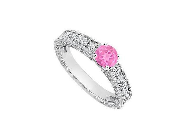 Created Pink Sapphire Milgrain Engagement Rings with CZ in 14K White Gold 1 ct.TGW