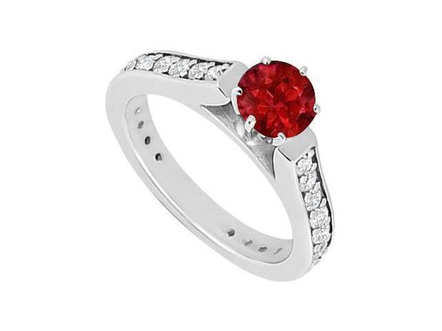 Ruby and Diamond Engagement Ring  14K White Gold 1.00 CT TGW