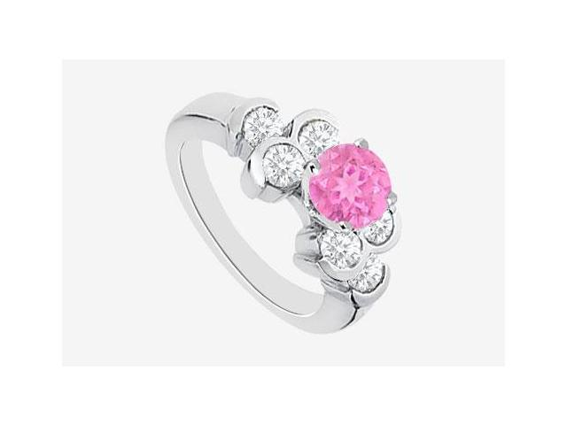 14K White Gold Engagement Ring in Pink Sapphire and Diamond 1.20 Carat TGW