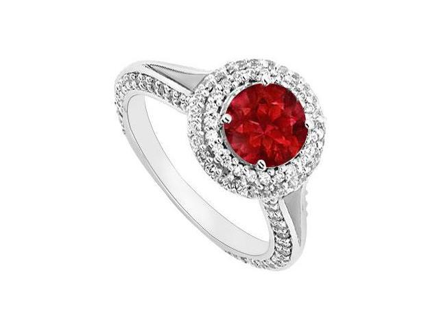 Ruby and Diamond Engagement Ring  14K White Gold 2.00 CT TGW