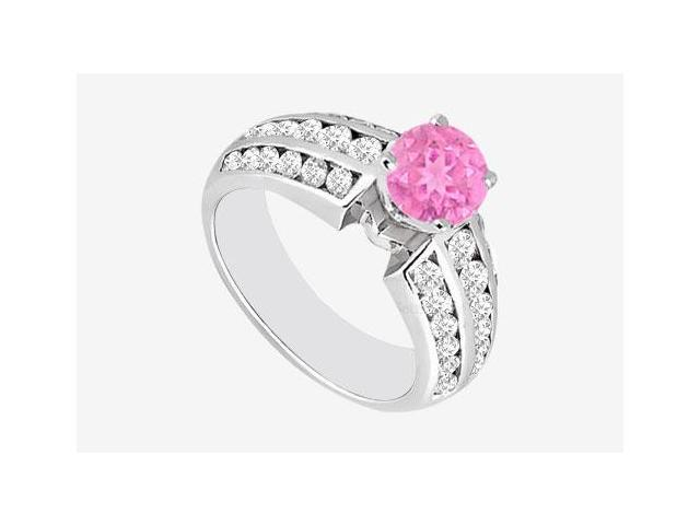 Engagement Ring Pink Sapphire and Diamonds in 14K White Gold 1.10 Carat TGW